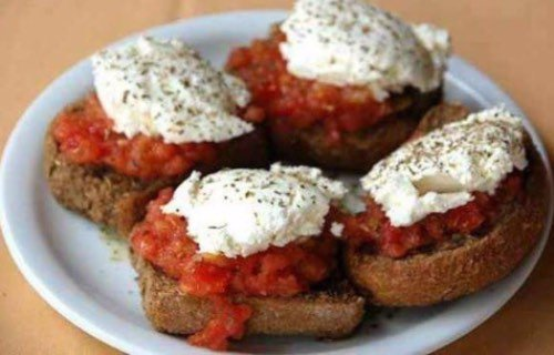 Dakos dish from Crete with cheese and tomatoes
