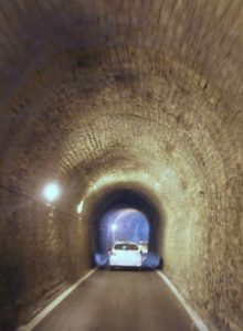 Road to Elafonisi, inside the tunnel, one vehicle at a time.