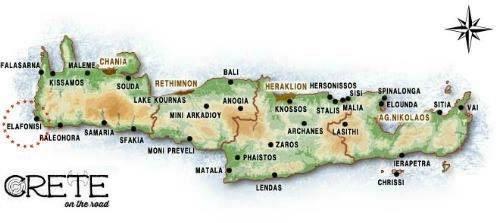 Map Elafonisi, Crete.