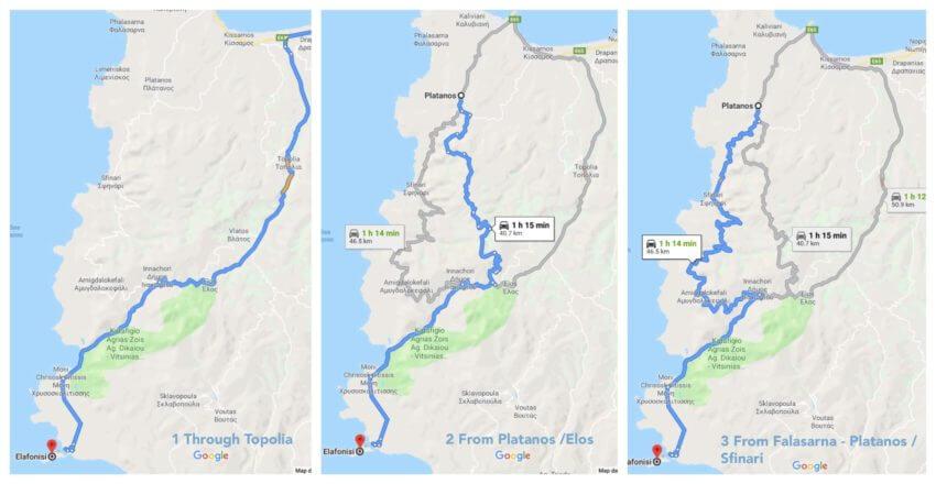 road maps to elafonisi crete
