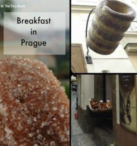 Traditional pastry from Prague, street breakfast with Trdelník.