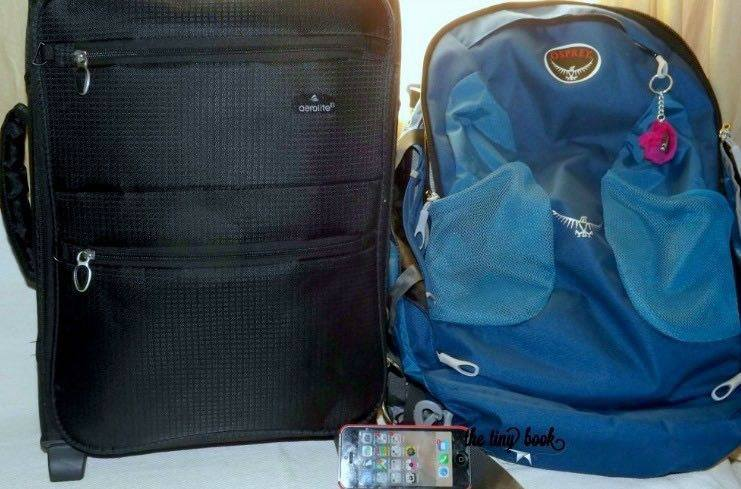 """Osprey Farpont 40L. Why is this the best backpack. Aerolite 18"""" next to Osprey Farpoint 40 - It's love for both. (The iPhone 5 is there for size purposes...)."""