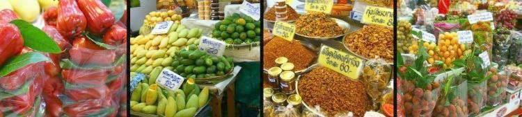 Fruit-market, variety of vegetable and fruits. Bangkok