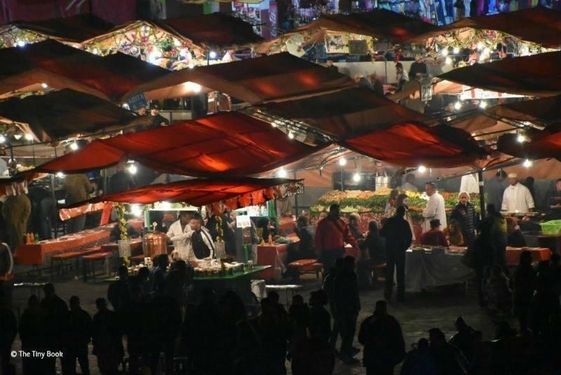 Food stands at night. Place Jma el Fnaa, Marrakech