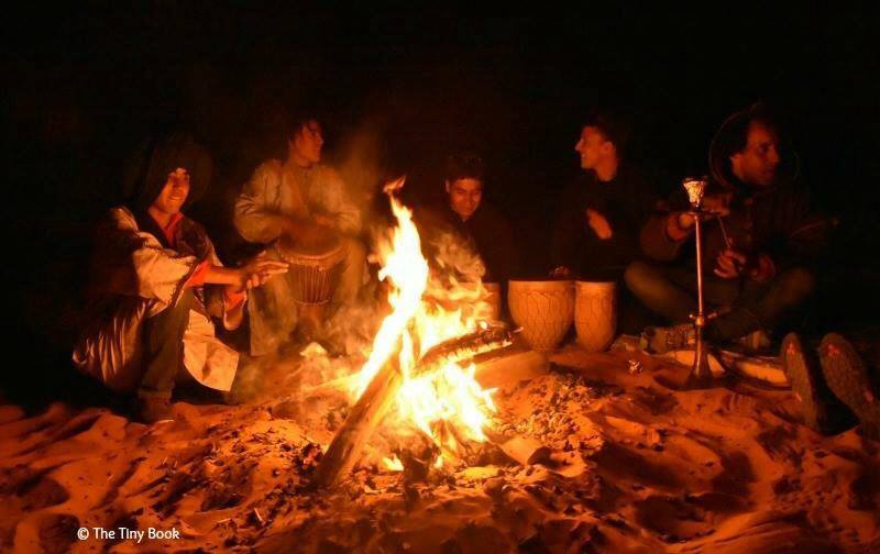Moroccan night under the stars: Bonfire: Berber songs, music, and celebration.