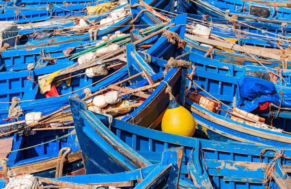 blue boats port Essaouira