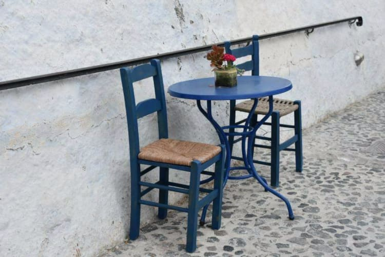 Chairs and little table, Pyrgos. Santorini. Santorini dreamy photo destination
