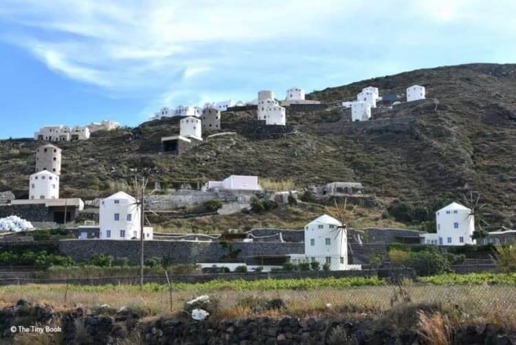 Windmills near the village of Emborio, Santorini.