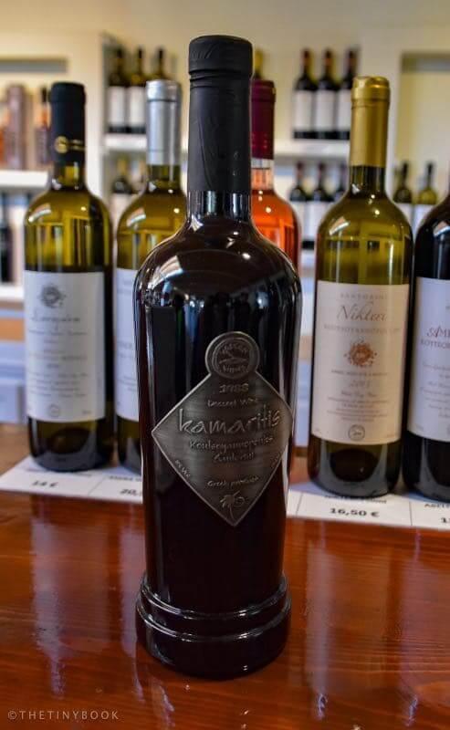 Bottle of Kamaritis wine from Santorini