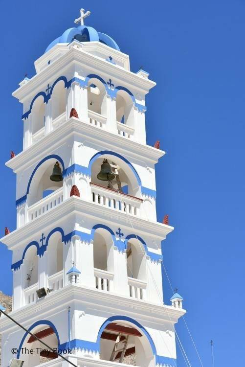 Bell Tower, main church Perissa. Santorini. Santorini dreamy photo destination