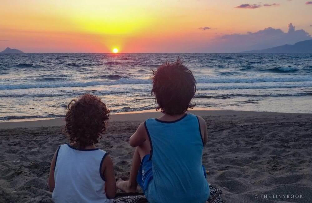 kids, sea, sunset