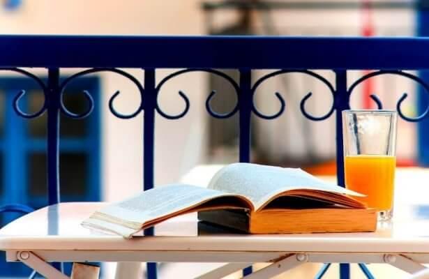 Greece - orange juice - book