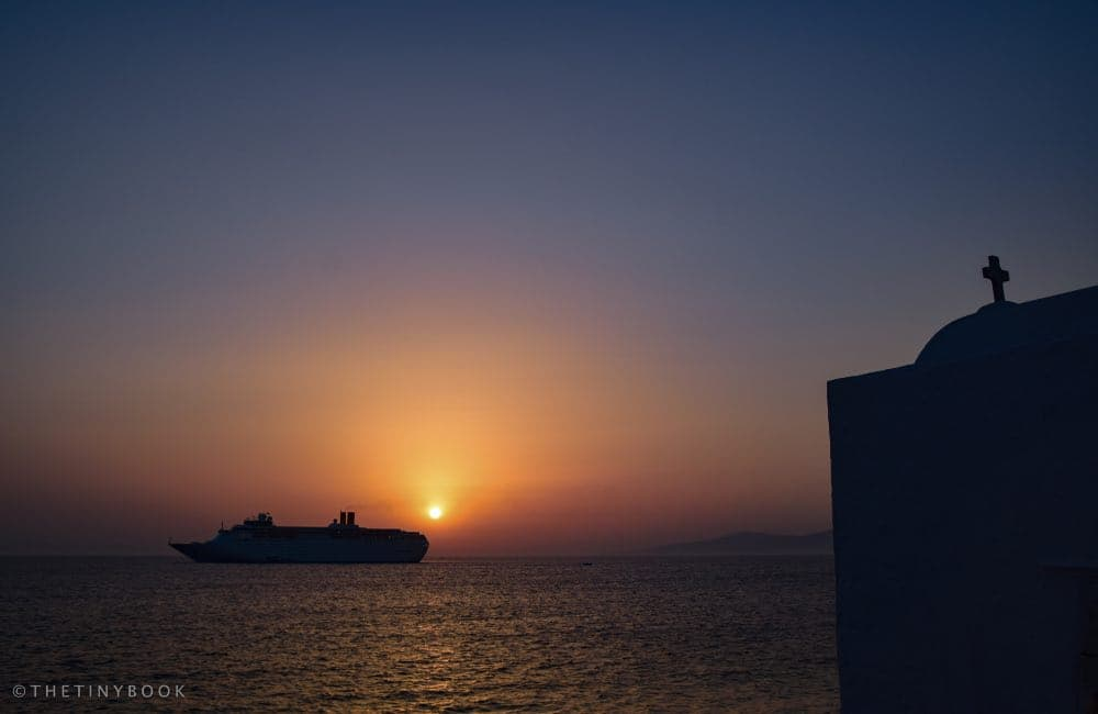 Sunset in the port of Mykonos, Greece
