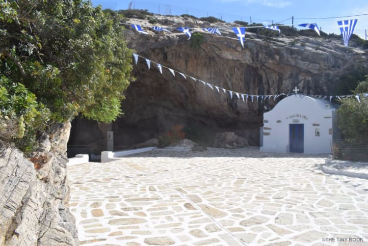 Church at the entrance of the Cave of Antiparos. Greece