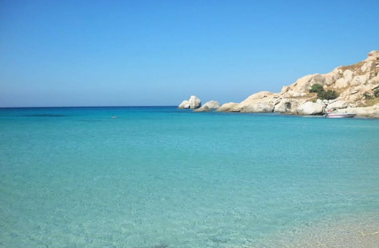 Beach of Mikri Vigla, Naxos Island, Greece. Naxos, a journey among stunning beaches and mysterious sites