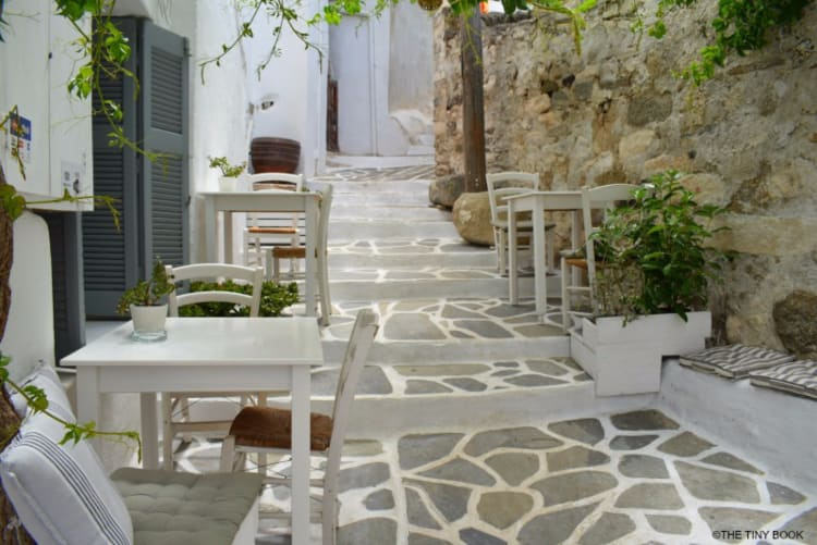 White streets in the old town of Naxos.