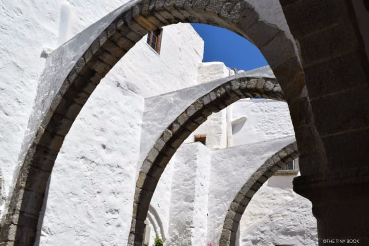 The architecture in the Monastery of Saint John, Patmos, Greece.