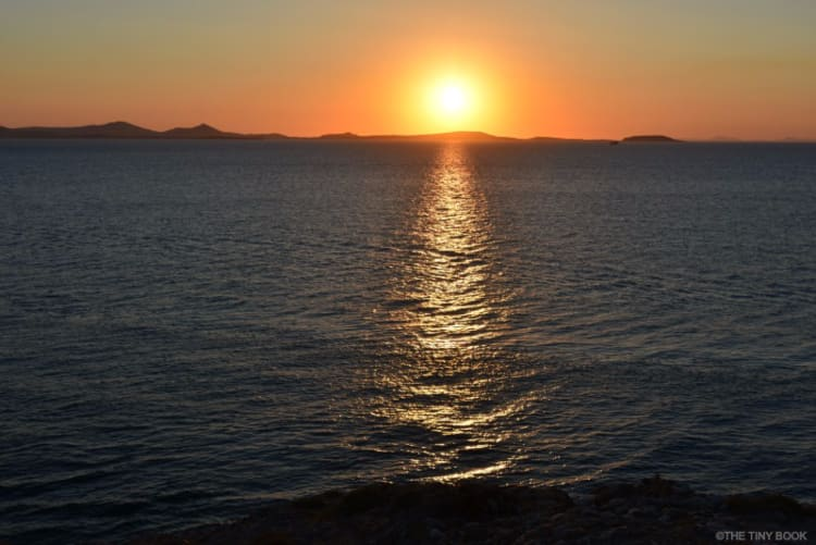 Sunset from the Islet of Ariadne, Portara of Naxos, Cyclades.