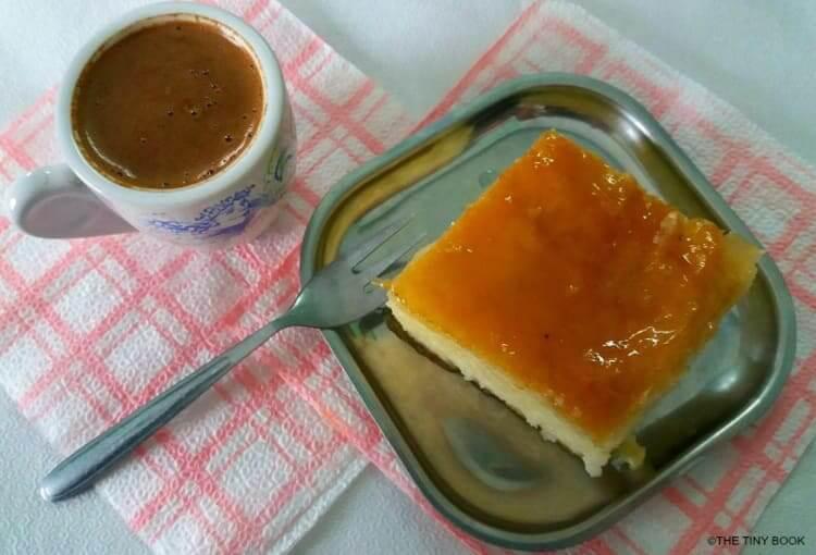 Greek coffee and galaktoboureko, Halki.