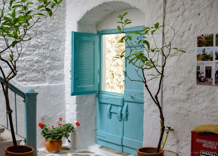 stairs, blue doors, flowers, PATIO NAXOS