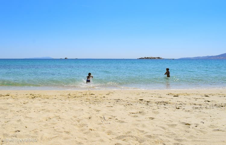 Kids in the sea Naxos Greece