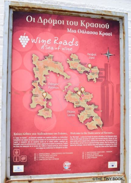 Map: wine roads of Patmos island