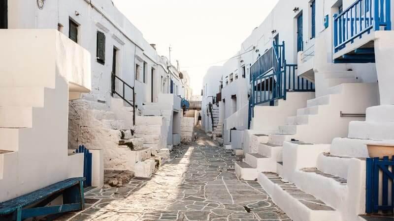 white and blue landscape Folegandros Island, Greece