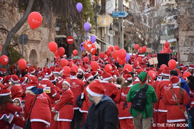 People dressed as Santa Clause, Santa Run Event in Chania, Crete, Greece