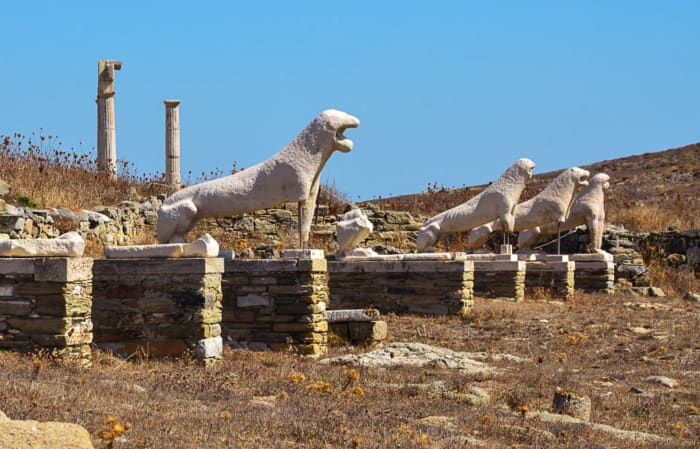 Lions of Delos, Mykonos, Greece