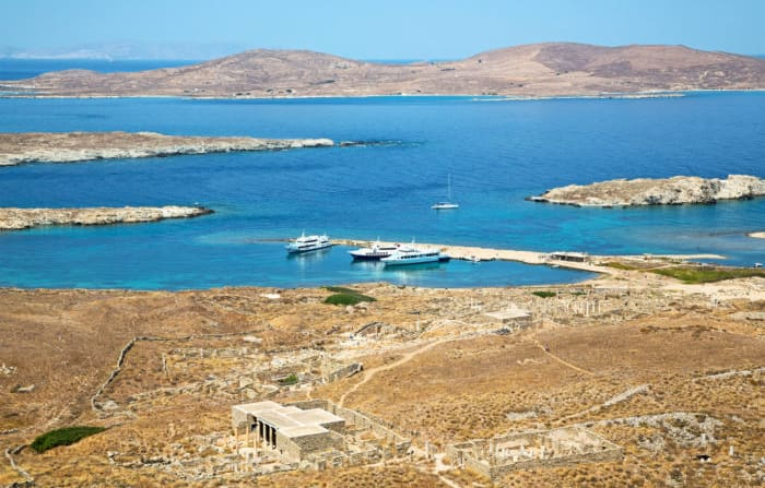 The archaeological island of Delos, Greece.