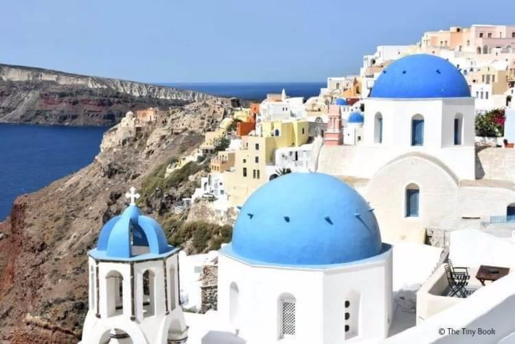 Three blue domes churches Santorini