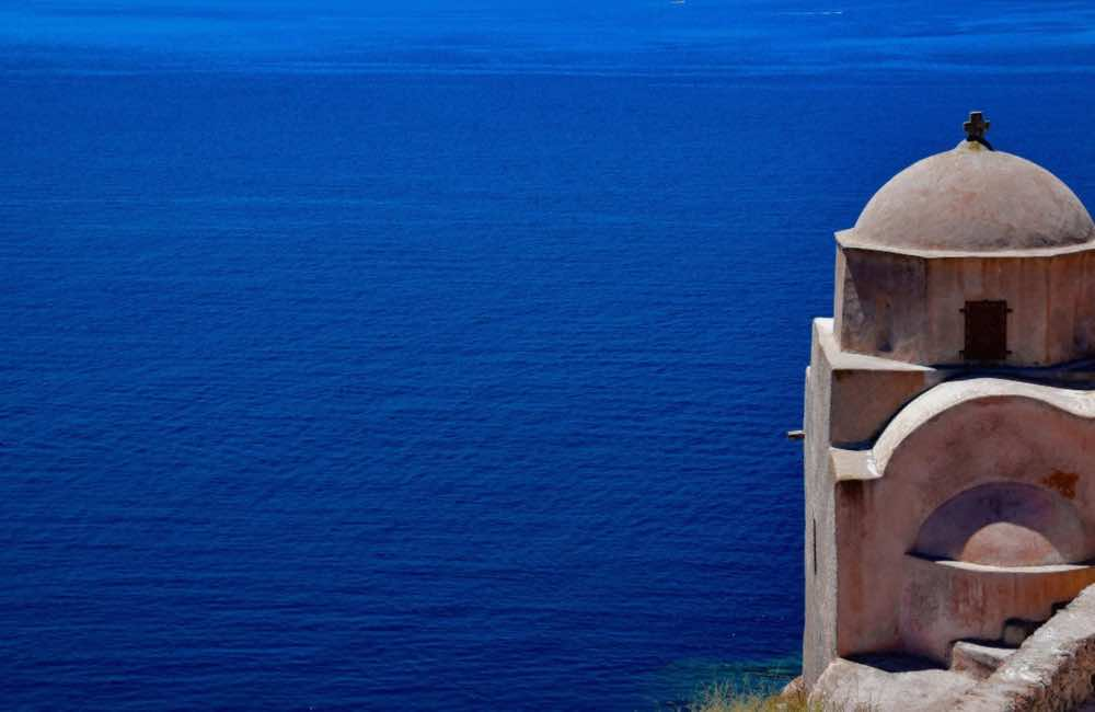 GREECE - SANTORINI - SEA - CHURCH BY THE SEA