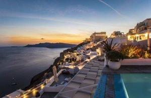 Greece, Santorini island, sunset at the Caldera.