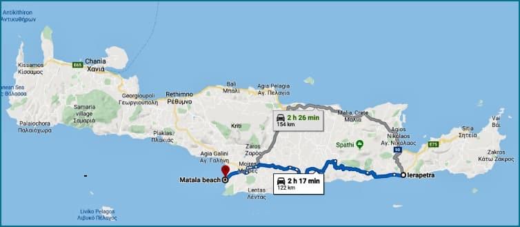 Map Ierapetra-Matala Crete island