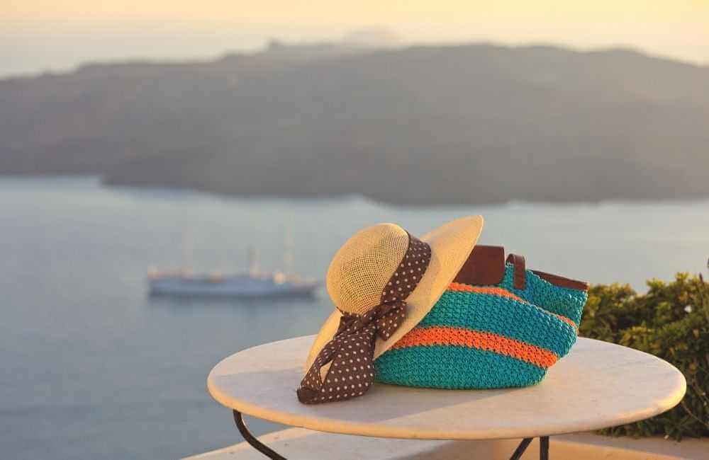 Hat, bag, View of Santorini Caldera
