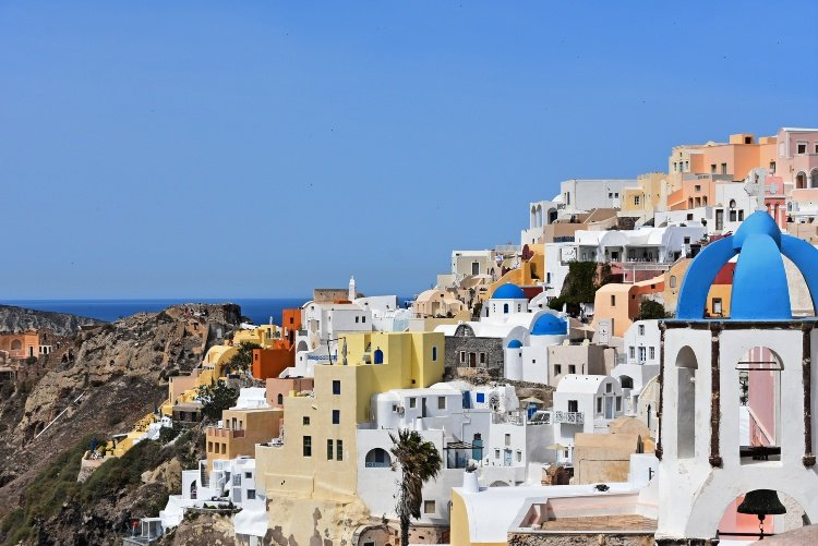 Santorini, view of Oia village.