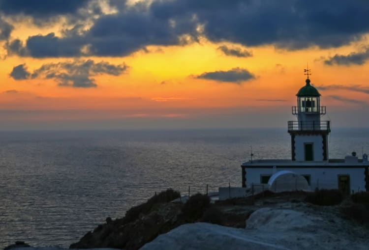 Lighthouse of Akrotiri, Santorini island.