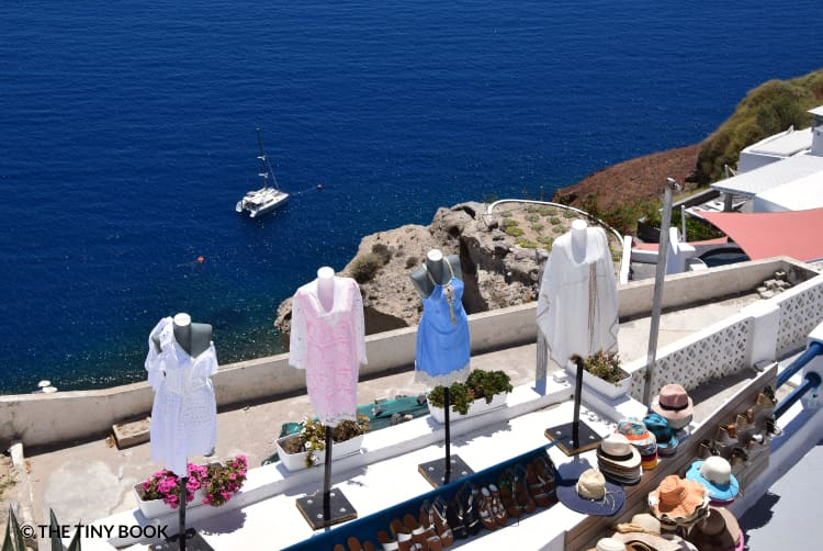 Shops by the sea in Santorini island, Greece