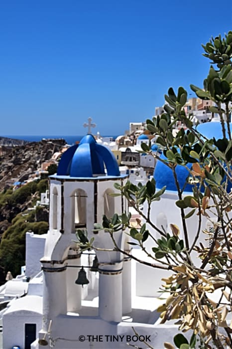 Three blue domes Santorini.