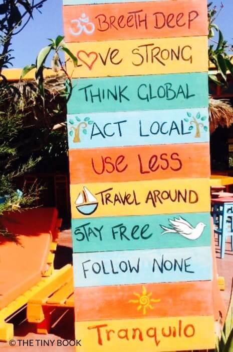 Sign beach bar (Tranquilo) Perissa, Santorini
