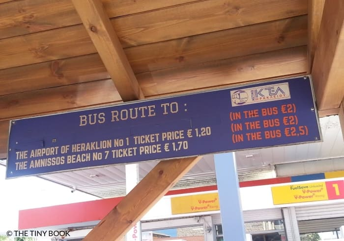 Bus Station Heraklion, ticket fees.