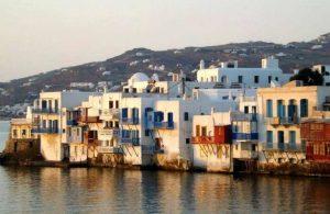 GREECE - MYKONOS - LITTLE VENICE AT SUNSET