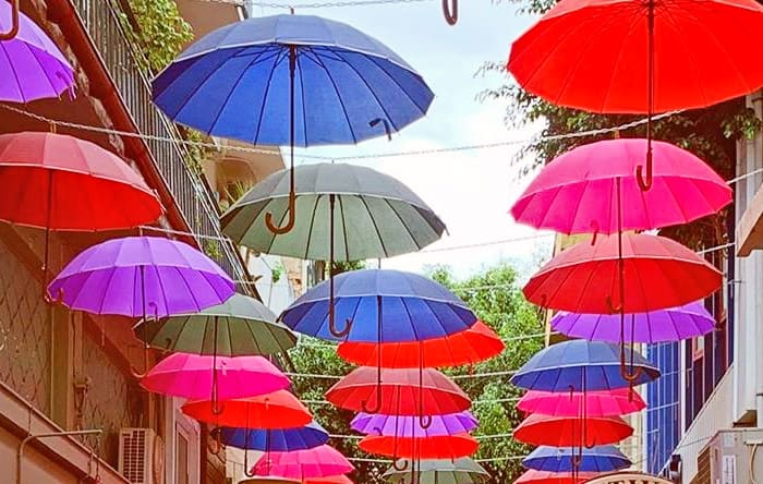 Umbrellas hanging on 1821 Street, Heraklion.
