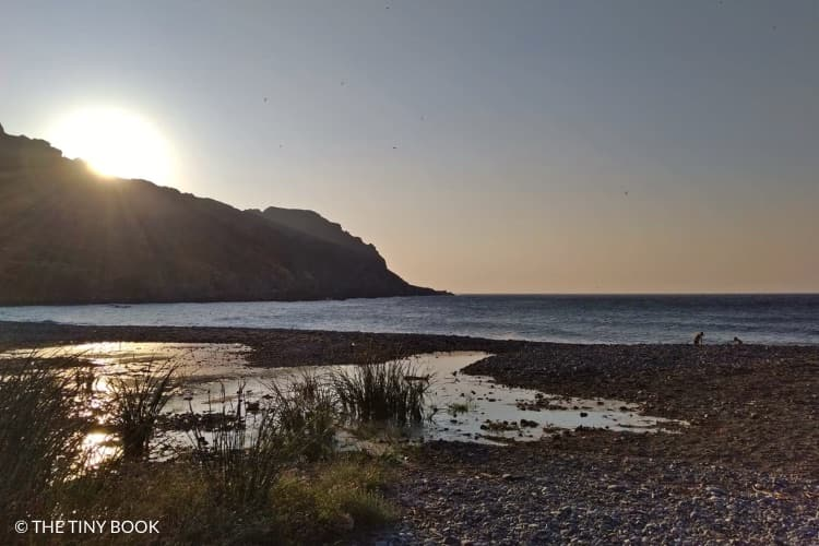 Sfinari beach in Crete at sunset