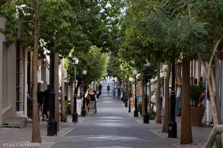 A pedestrian road in the center of Agios Nikolaos. Crete