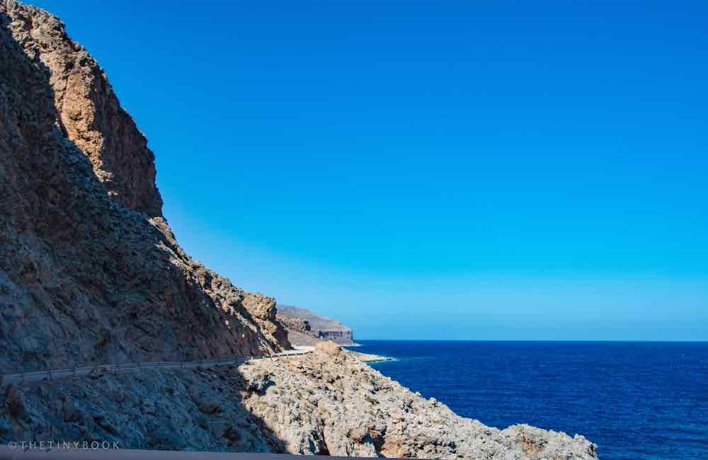 mountain road, cliff, sea
