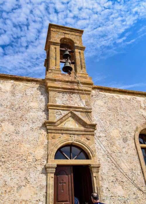 bell tower, church, bells, monastery, Chrisoskalithissa  Monastery, Crete
