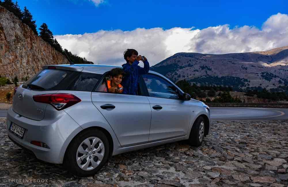 Car, mountain road, kids