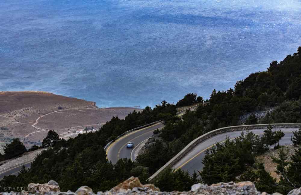 Mountain road, sea, cliff