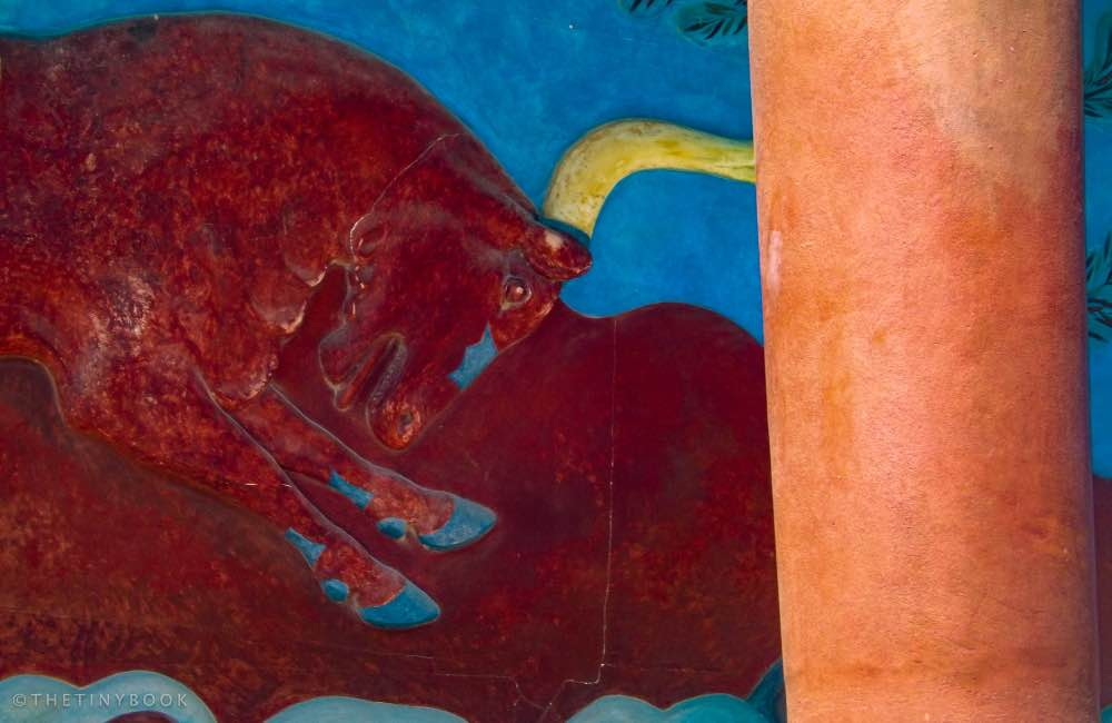 Close up detail Minoan fresco, Bull face and horns